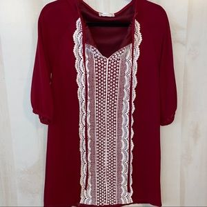 Altar'd State Red Keyhole Shift Dress with Crochet